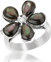 Del Gatto ,  Diamond And Black Mother-of-pearl Flower 18k Gold Ring