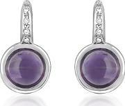 Mia & Beverly ,  Amethyst And Diamond 18k White Gold Earrings