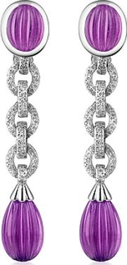 Roma Imperiale ,  Carved Gemstone 18k Gold And Diamond Drop Earrings