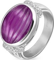 Roma Imperiale ,  Carved Amethyst And Diamond 18k Gold Ring