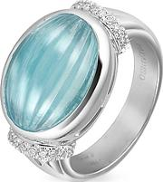 Roma Imperiale ,  Carved Aquamarine And Diamond 18k Gold Ring