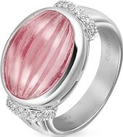 Roma Imperiale ,  Carved Pink Rubellith And Diamond 18k Gold Ring