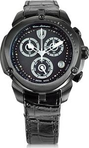Tonino Lamborghini ,  Shield Lady Black Stainless Steel And Black Croco Print Leather Chronograph Watch