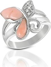 Del Gatto ,  Diamond And Pink Coral Butterfly 18k Gold Ring