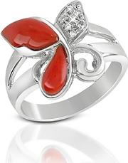 Del Gatto ,  Diamond And Red Coral Butterfly 18k Gold Ring