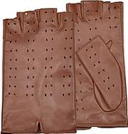 Forzieri ,  Women's Tan Perforated Fingerless Leather Gloves