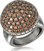 Azhar ,  Sterling Silver Cubic Zirconia Semi-sphere Cocktail Ring