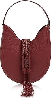Altuzarra ,  Ghianda Small Garnet Red Leather Knot Hobo Bag