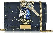 Gedebe ,  Clicky Blue Galaxy Leather Clutch Wbeaded Unicorn