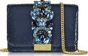 Gedebe ,  Clicky Midnight Blue Python Clutch Wcrystals