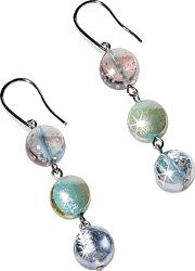 Antica Murrina ,  Redentore 1 - Pastel Pink And Green Murano Glass & Silver Leaf Dangling Earrings