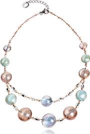 Antica Murrina ,  Redentore 3 - Pink & Green Murano Glass And Silver Leaf Choker