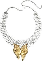 Bernard Delettrez ,  Silver Chains With Bronze Wings Necklace