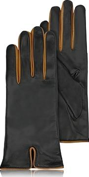 Forzieri ,  Black & Cognac Cashmere Lined Leather Ladies' Gloves