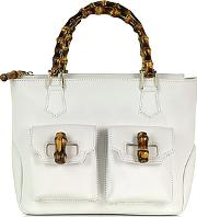 Buti ,  Front Pockets White Leather Satchel Bag W Bamboo Handles