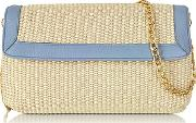 Buti ,  Straw And Leather Clutch Wshoulder Strap
