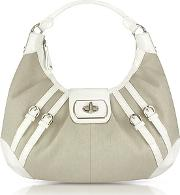 Buti ,  White Patent Leather And Canvas Hobo Bag