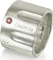 Calibro12 ,  Limited Edition Sterling Silver And Ruby Ring Wchain