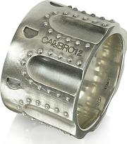 Calibro12 ,  Revolver Stud Burnished Sterling Silver Ring Wchain