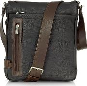 Chiarugi ,  Black And Brown Leather Vertical Messenger