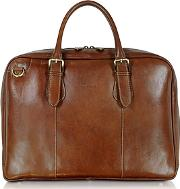 Chiarugi ,  Brown Double Handle Leather Briefcase