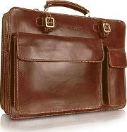 Chiarugi ,  Handmade Brown Genuine Leather Double Gusset Briefcase