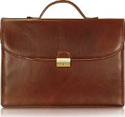 Chiarugi ,  Men's Handmade Brown Leather Single Gusset Briefcase
