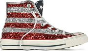 Converse Limited Edition ,  Chuck Taylor All Star Hi Silver And Red Glitter Sneakers