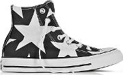 Converse Limited Edition ,  Chuck Taylor All Star High Black Canvas Wwhite Big Stars