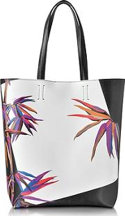 Emilio Pucci ,  Bamboo Print Black And White Leather Tote