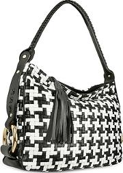 Fontanelli ,  Black And White Houndstooth Woven Leather Tote Bag