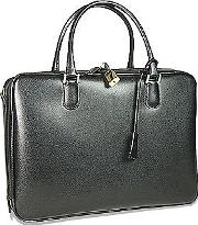Fontanelli ,  Black Lizard-print Calf Leather Briefcase