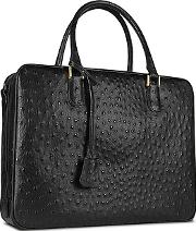 Fontanelli ,  Black Ostrich Stamped Leather Briefcase