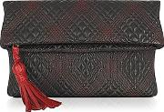 Fontanelli ,  Black Quilted Leather Clutch