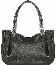Fontanelli ,  Black Stitched Soft Leather Tote