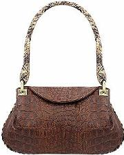 Fontanelli ,  Brown Croco-embossed Leather Flap Bag Wpython Trim