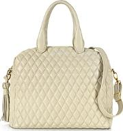 Fontanelli ,  Ivory Quilted Leather Satchel