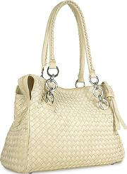 Fontanelli ,  Ivory Woven Italian Suede & Leather Satchel Bag
