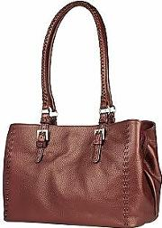 Fontanelli ,  Metallic Burgundy Stitched Soft Leather Satchel Bag