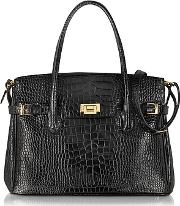 Fontanelli ,  Shiny Black Croco Embossed Leather Tote