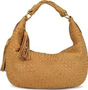 Fontanelli ,  Tan Washed Woven Leather Gusset Hobo Bag