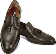 Fratelli Rossetti ,  Dark Brown Calf Leather Tassel Loafer Shoes
