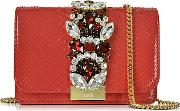 Gedebe ,  Clicky Red Python Clutch Wcrystals