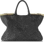 Ghibli ,  Black Woven Leather Tote Wchain