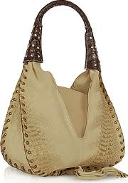 Ghibli ,  Jeweled Beige Suede And Reptile Leather Hobo Bag