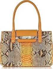 Ghibli ,  Orange And Yellow Python And Leather Large Satchel