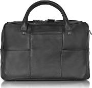 Giorgio Fedon , 1919 - British Black Leather Briefcase W13 Laptop Compartment