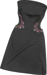 Hafize Ozbudak ,  Black Crystal Decorated Cut Out Strapless Dress