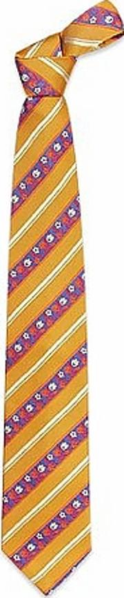 Ken Scott ,  Orange & Blue Flower Striped Woven Silk Tie