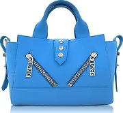 Kenzo ,  Sky Blue Soft Rubberized Gommato Leather Mini Kalifornia Satchel